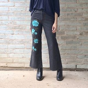 Anna Sui Jeans Embroidered Crop Flare Black Denim